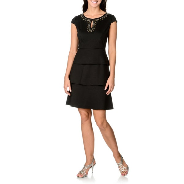 S.L. Fashions Women's Embellished Neckline Tiered Dress