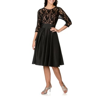 S.L. Fashions Women's Lace Illusion Fit-and-Flare Dress