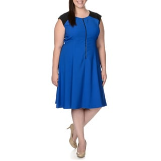 London Times Women's Plus Size Black and Blue Zip-front Dress