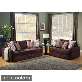 Furniture of America Tarah Transitional 2-Piece Chenille Sofa Set