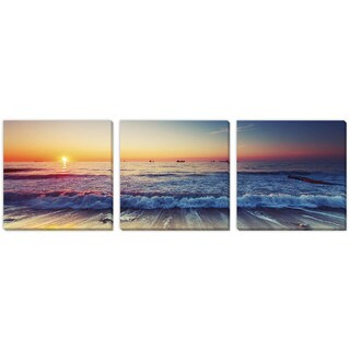 Valentin Valkov's 'Sea at Sunset' Canvas Gallery Wrap Art 3 pc set