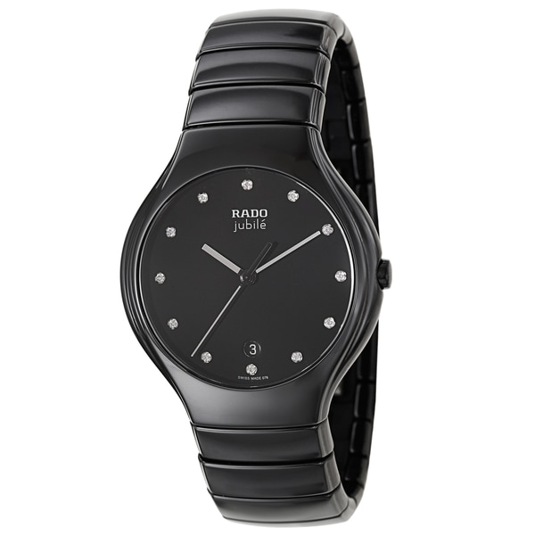 Rado Men's R27653762 'Rado True Jubile' Ceramic Diamond Accent Swiss Quartz Watch