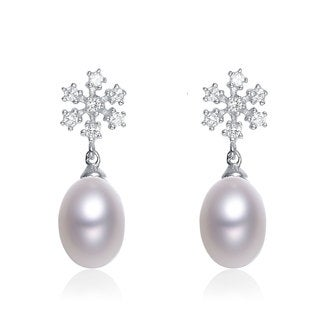 Collette Z Sterling Silver Cubic Zirconia White Freshwater Pearl Dangling Earrings (8-10.5 mm)
