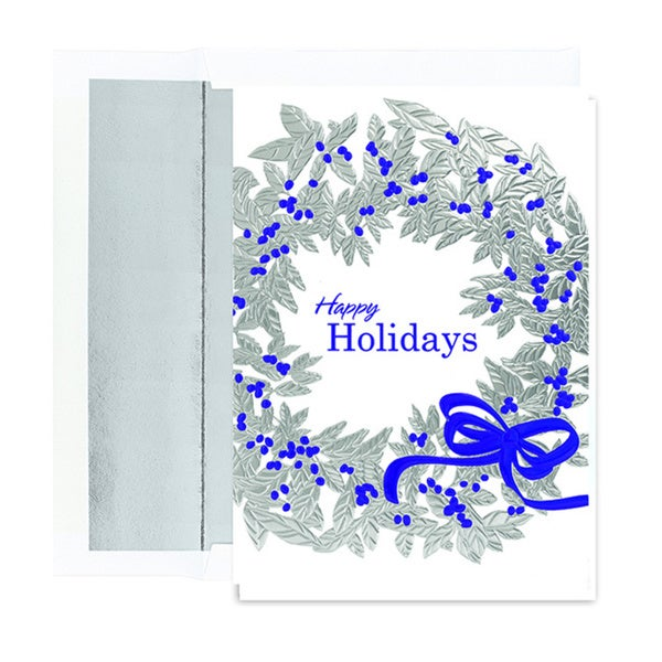 Silver Holiday Wreath Boxed Holiday Cards