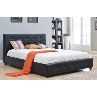 Abbyson Living Montego Black Tufted Bonded Leather Platform Bed