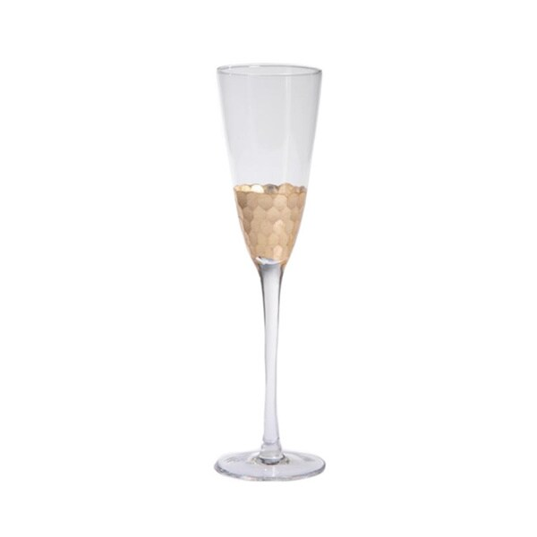 Fez Cut Glass Champagne Flute with Gold Leaf
