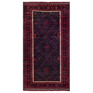 Herat Oriental Semi-antique Afghan Hand-knotted Tribal Balouchi Navy/ Red Wool Rug (3'9 x 7'1)