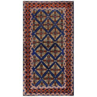 Herat Oriental Semi-antique Afghan Hand-knotted Tribal Balouchi Navy/ Rust Wool Rug (3'5 x 6'4)