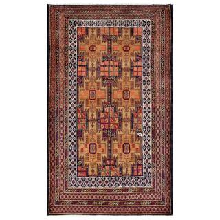 Herat Oriental Semi-antique Afghan Hand-knotted Tribal Balouchi Navy/ Beige Wool Rug (3'11 x 6'5)