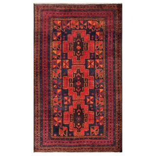 Herat Oriental Semi-antique Afghan Hand-knotted Tribal Balouchi Navy/ Red Wool Rug (3'4 x 5'9)