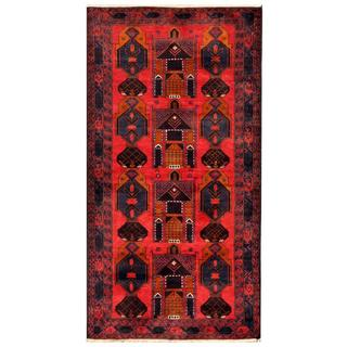 Herat Oriental Semi-antique Afghan Hand-knotted Tribal Balouchi Navy/ Red Wool Rug (3'7 x 6'9)