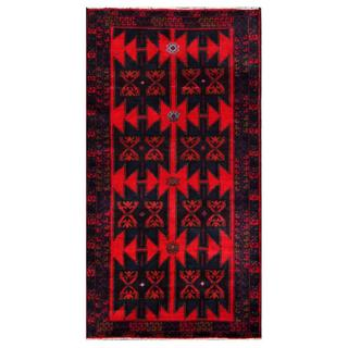 Herat Oriental Semi-antique Afghan Hand-knotted Tribal Balouchi Navy/ Red Wool Rug (3'4 x 6'5)