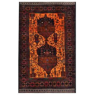Herat Oriental Semi-antique Afghan Hand-knotted Tribal Balouchi Navy/ Orange Wool Rug (3'11 x 6'3)