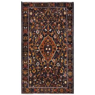 Herat Oriental Semi-antique Afghan Hand-knotted Tribal Balouchi Navy/ Brown Wool Rug (3'9 x 6'8)