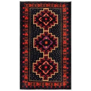 Herat Oriental Semi-antique Afghan Hand-knotted Tribal Balouchi Navy/ Red Wool Rug (3'9 x 6'5)