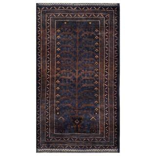Herat Oriental Semi-antique Afghan Hand-knotted Tribal Balouchi Navy/ Brown Wool Rug (3'7 x 6'6)