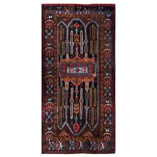 Herat Oriental Semi-antique Afghan Hand-knotted Tribal Balouchi Navy/ Light Blue Wool Rug (3'9 x 7'7)