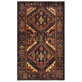 Herat Oriental Semi-antique Afghan Hand-knotted Tribal Balouchi Navy/ Brown Wool Rug (3'11 x 6'6)