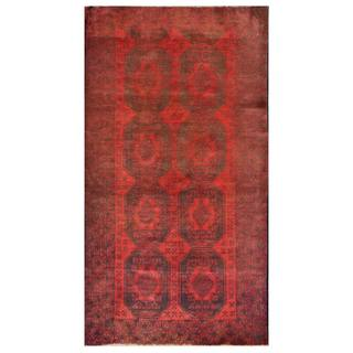 Herat Oriental Semi-antique Afghan Hand-knotted Tribal Balouchi Navy/ Red Wool Rug (3'8 x 6'8)