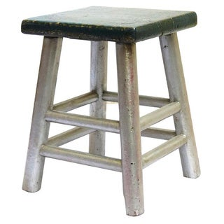 Corie Silvertone/ Blue Reclaimed Wood Stool (China)
