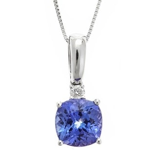 D'yach 14k White Gold Square Cushion-cut Tanzanite and Diamond Pendant Necklace
