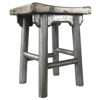 Penelope Metallic Silvertone Stool (China)