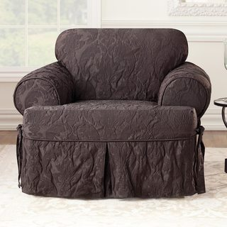 Sure Fit Matelasse Damask Espresso T-cushion Chair Slipcover