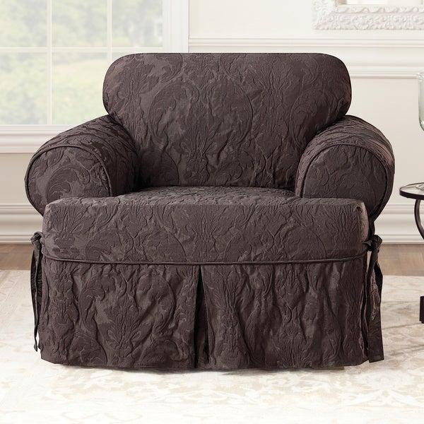 Sure Fit Matelasse Damask Espresso T Cushion Chair