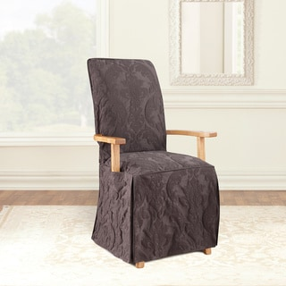 Sure Fit Matelasse Damask Long Dining Room Chair Slipcover with Arm Cutout