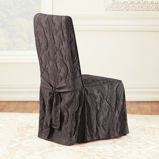 Sure Fit Matelasse Damask Espresso Long Dining Room Chair Slipcover