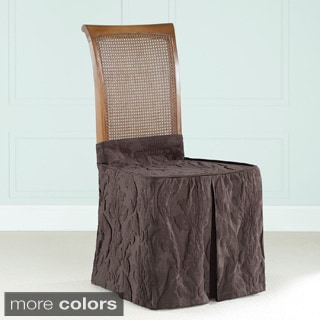 Sure Fit Matelasse Espresso Damask Dining Chair Skirt