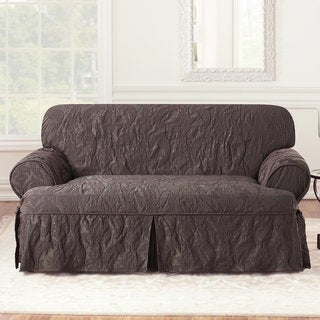 Sure Fit Matelasse Damask T-Cushion Espresso Loveseat Slipcover