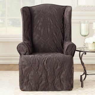 Sure Fit Matelasse Damask Espresso Wing Chair Slipcover