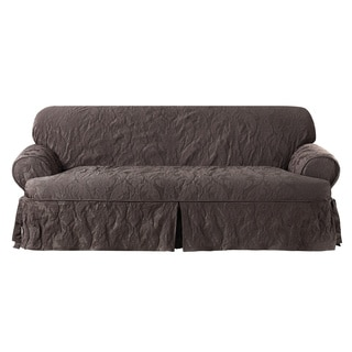 Sure Fit Matelasse Damask Espresso T-cushion Sofa Slipcover