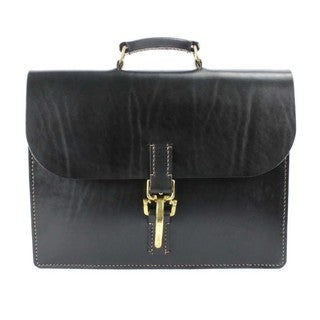Handmade McCarty 1541 Black English Bridle Leather Briefcase