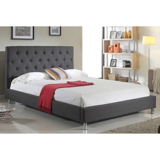 ABBYSON LIVING Newport Charcoal Tufted Linen Platform Bed