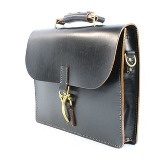 Handmade McCarty 1540 Black and Tan English Bridle Leather Briefcase
