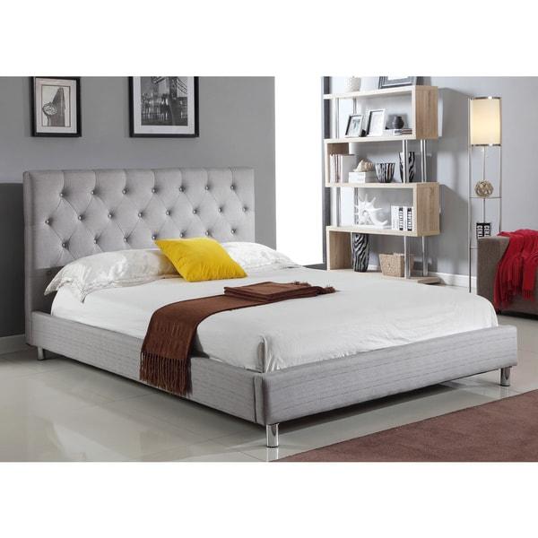Abbyson Living Newport Ivory Tufted Linen Platform Bed