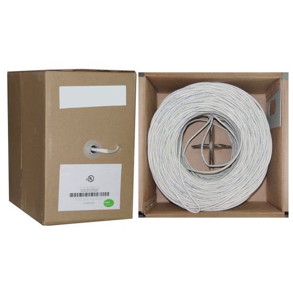 Offex 14/2 (14AWG 2C) 105 Strand/0.16mm 500-foot White Speaker Cable White with Pullbox
