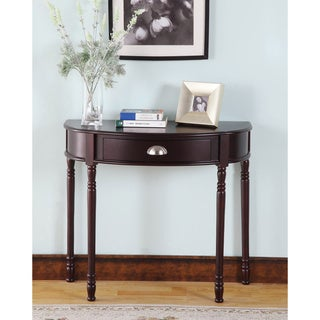 Merlot Finish Half-moon Console Table