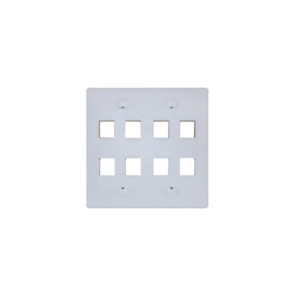 Offex 8 Hole for Keystone Jack Dual Gang White Wall Plate