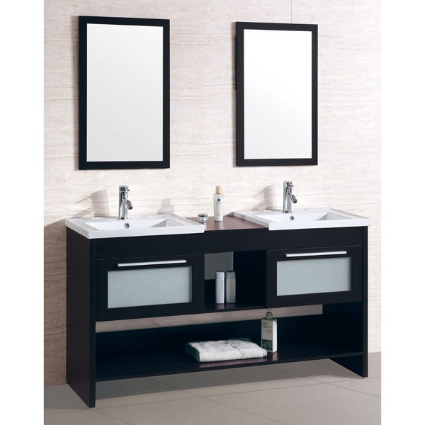 Double Sink Bathroom Vanity With Dual Matching Wall Mirrors Free
