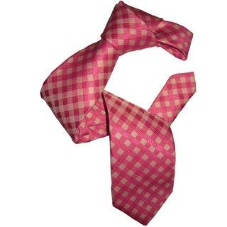 Dmitry Men's Classic Pink Patterned Italian Silk Tie