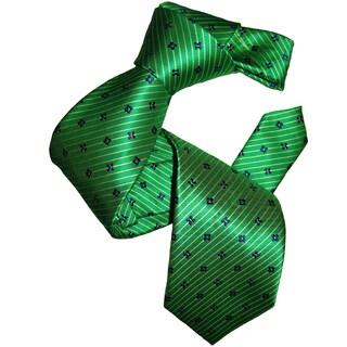 Dmitry Men's Classic Green Patterned Italian Silk Tie