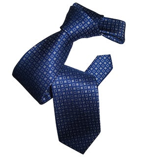Dmitry Men's Classic Blue Patterned Italian Silk Tie
