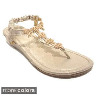 Olivia Miller Women's Beaded Shimmer Lame Wedge Sandals