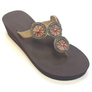 Olivia Miller Women's Wagon Wheel Wedge Sandals