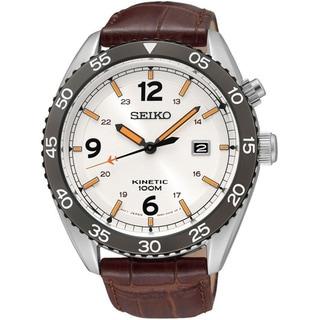 Seiko Men's SKA619P1 Kinetic White Dail Brown Leather Watch