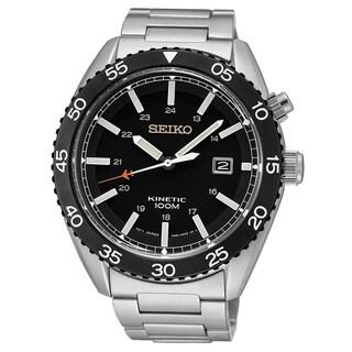 Seiko Men's SKA617P1 Kinetic Black Stainless Steel Watch