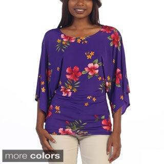 Hadari Women's 3/4-length Sleeve Dolman Floral Top